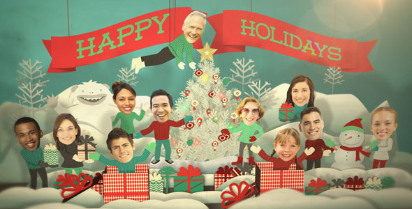 Holiday Faces Pop Up Card By FluxVFX VideoHive - Card template free: photo insert christmas cards