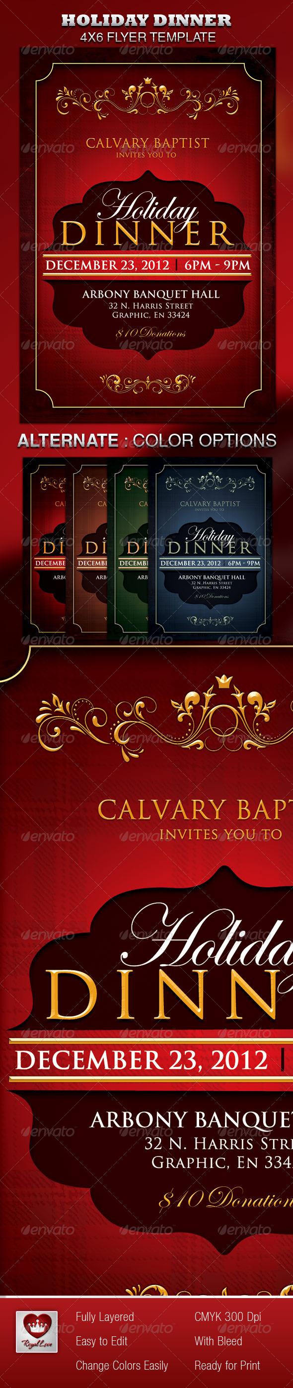 Holiday Dinner Church Flyer - Holidays Events