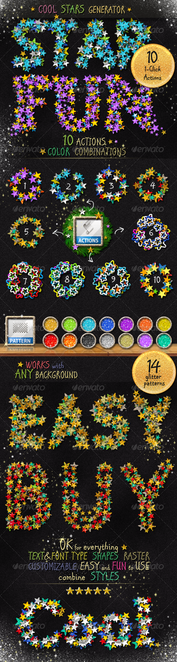 Stars Glitter Sequins Photoshop Action Generator - Utilities Actions