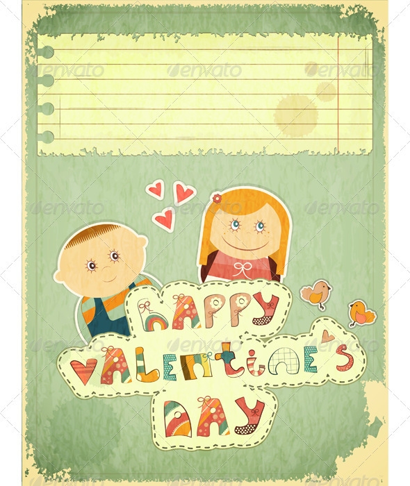 Vintage Design Valentines Day Card - Valentines Seasons/Holidays