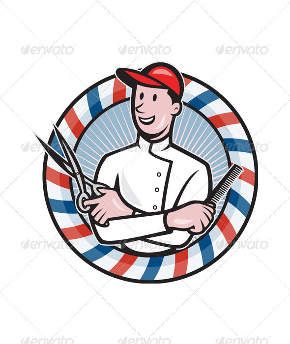 Barber With Scissors and Comb Cartoon - People Characters