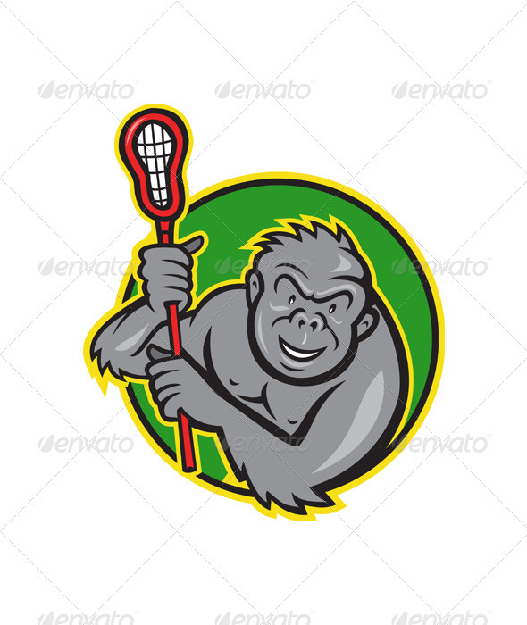 Gorilla Ape With Lacrosse Stick Cartoon - Animals Characters
