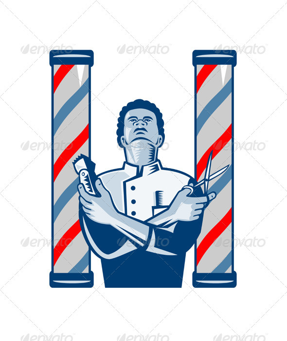 Barber With Pole Hair Clipper and Scissors Retro  - People Characters