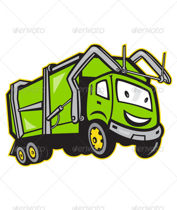 Garbage Rubbish Truck Cartoon  - Miscellaneous Vectors
