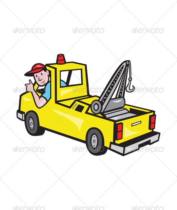 Tow Wrecker Truck Driver Thumbs Up  - Miscellaneous Vectors