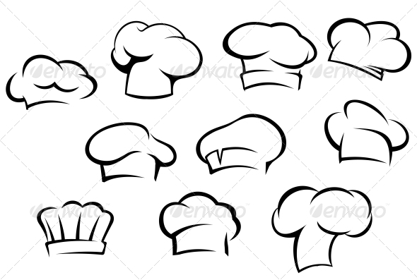 White Chef Hats and Caps - Man-made Objects Objects