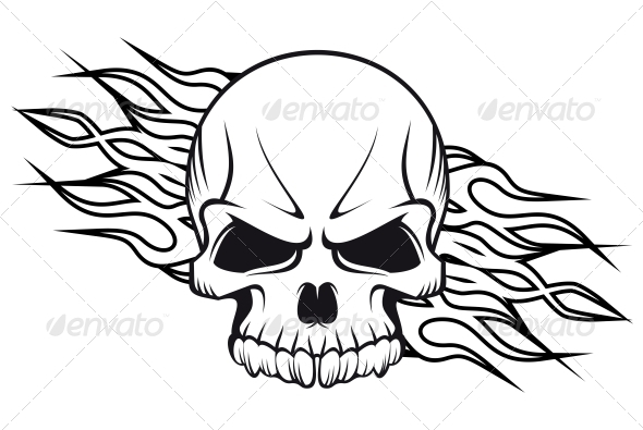 Human Skull with Flames - Tattoos Vectors