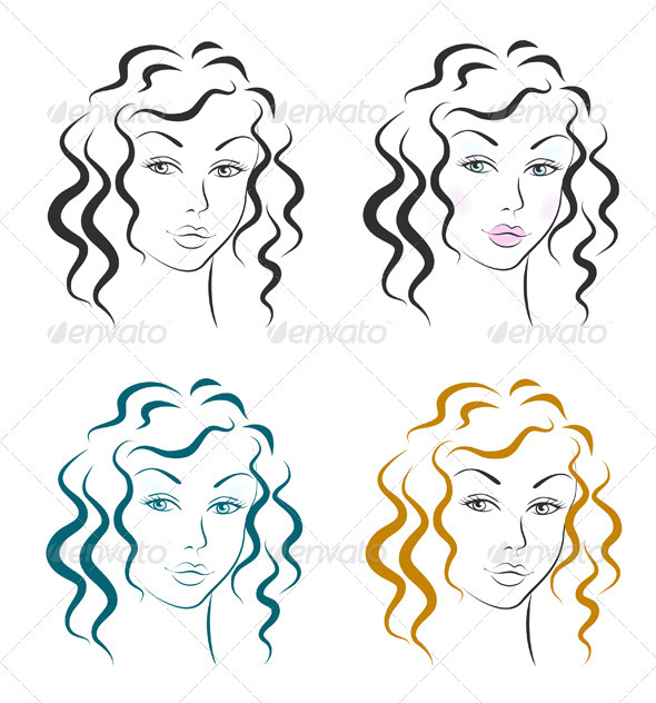 Beautiful Woman Face Design Set - Characters Vectors