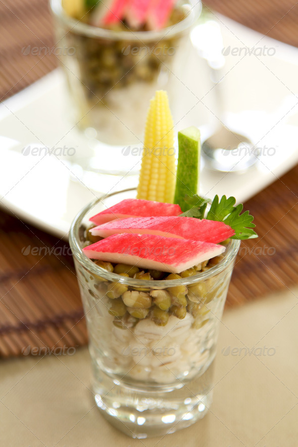 Crab stick appetiser  - Stock Photo - Images