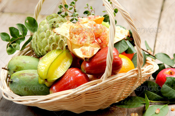 Basket of fruits  - Stock Photo - Images