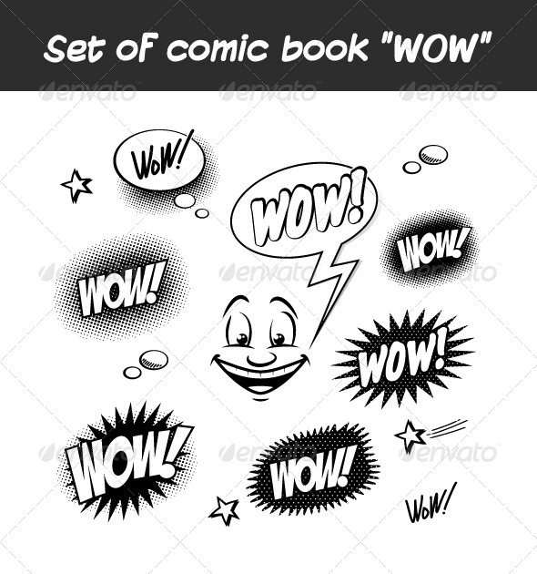 "Set of Comic Book ""WOW"" - Miscellaneous Vectors"