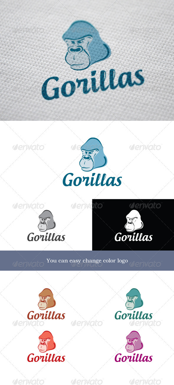 Gorillas - Animals Logo Templates