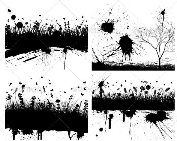 Grunge Grass Background Set - Seasons Nature