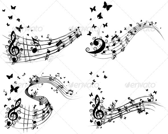 Set of Musical Backgrounds - Decorative Symbols Decorative
