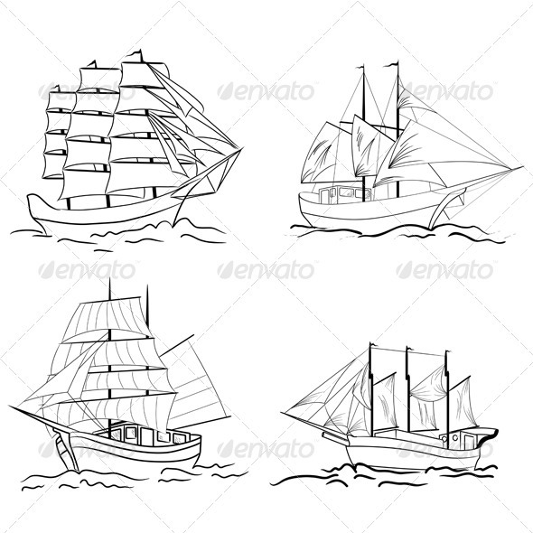 Set of Sailing Vessel Sketches - Travel Conceptual
