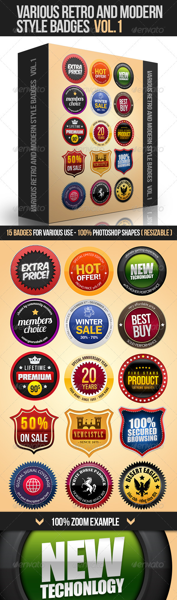 Various Retro And Modern Style Badges Vol.1 - Badges & Stickers Web Elements