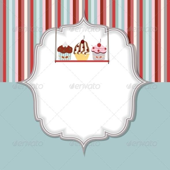 Cupcake Invitation Card Vector Illustration - Birthdays Seasons/Holidays
