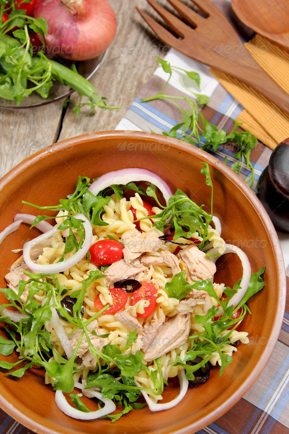 Fusilli with Tuna salad - Stock Photo - Images