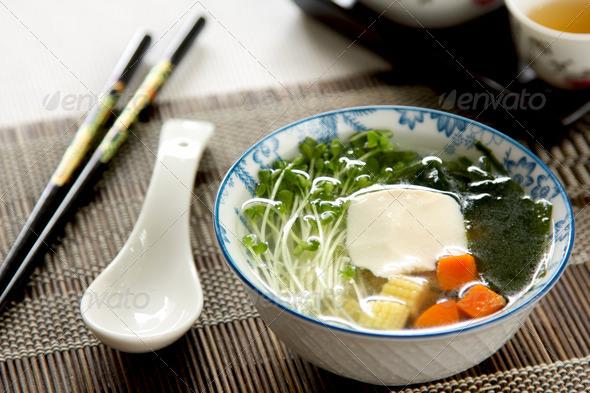 Fresh Tofu with seaweed soup - Stock Photo - Images