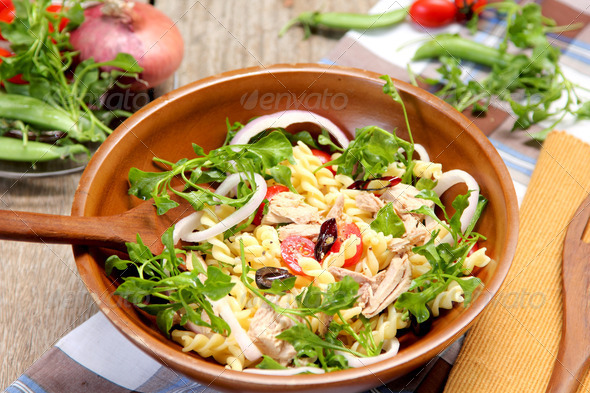Fusilli with Tuna salad - Stock Photo - Images