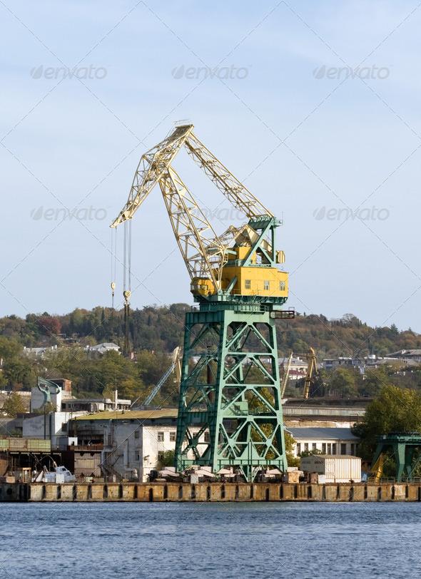 Harbour crane. - Stock Photo - Images