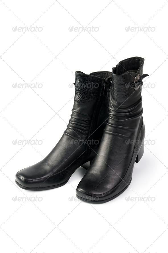 Women's black boots - Stock Photo - Images
