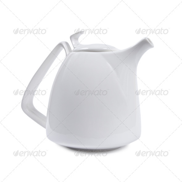 White porcelain teapot. - Stock Photo - Images