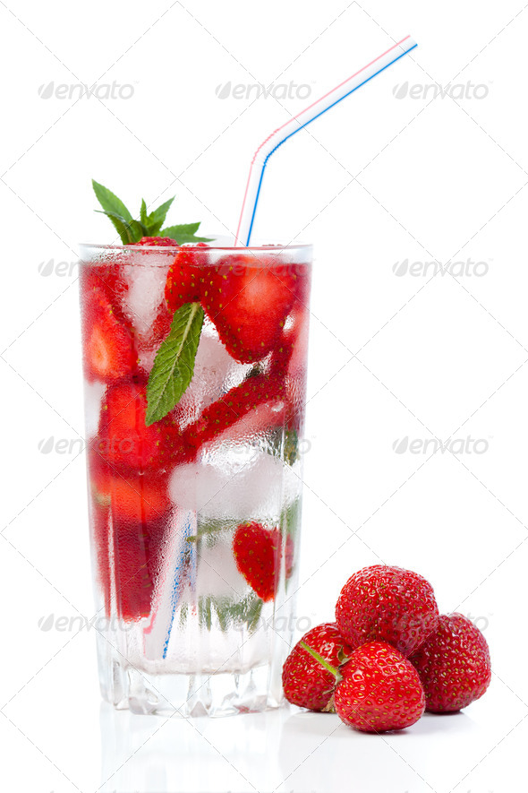 Strawberry cocktail with ice and mint - Stock Photo - Images