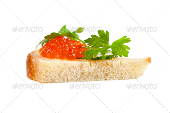Sandwich with salmon roe - Stock Photo - Images