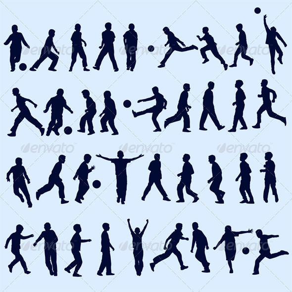 Football and Children Silhouettes - People Characters