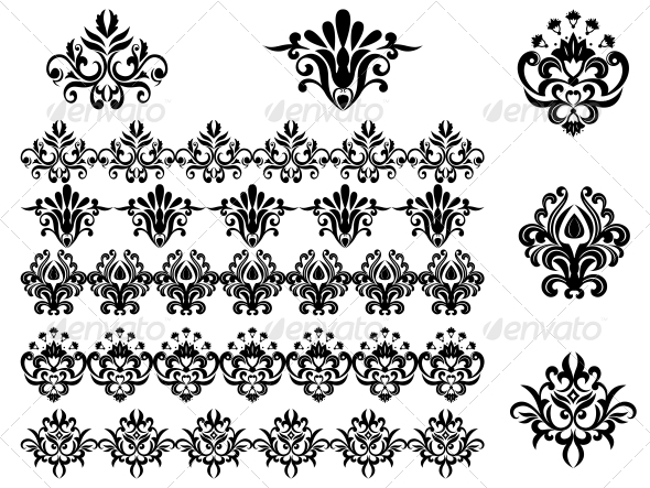 Flower Patterns and Borders - Flourishes / Swirls Decorative