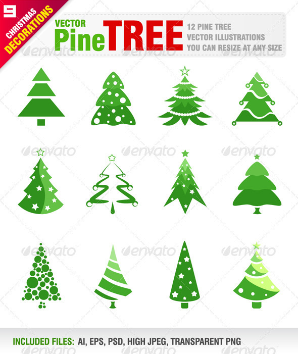 12 Pine Trees - Christmas Seasons/Holidays