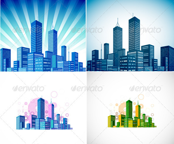 Vector Skyline Background - Buildings Objects