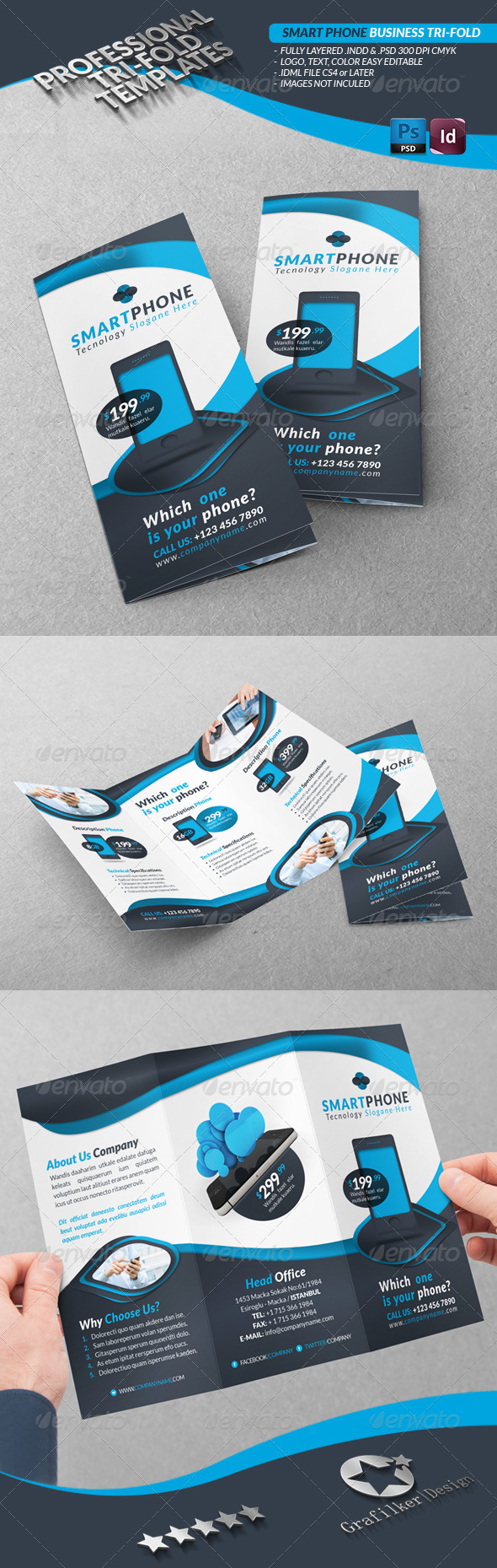 Smart Phone Business Tri-Fold - Brochures Print Templates