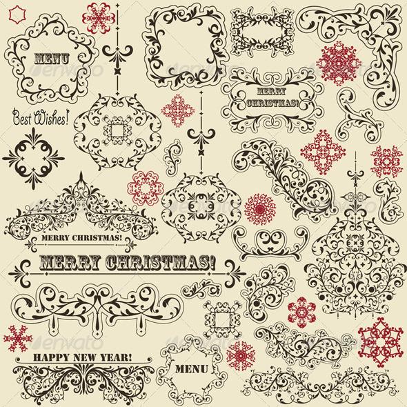 Vector Vintage Holoiday Design Elements - Decorative Symbols Decorative