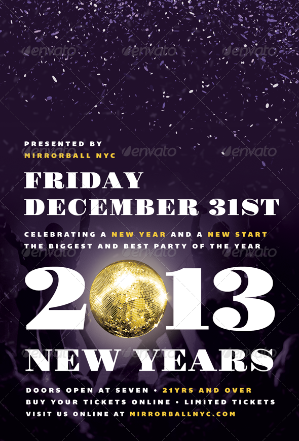 Mirrorball - New Years Eve Flyer Template - Holidays Events