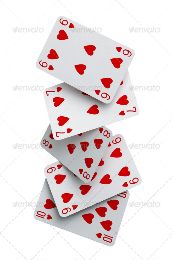 Straight flush cards falling - Stock Photo - Images