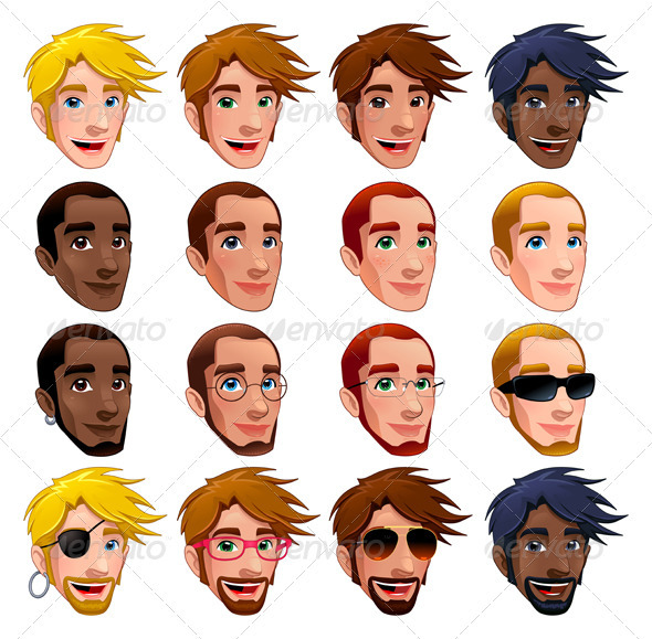 Male Faces, Vector Isolated Characters.  - People Characters