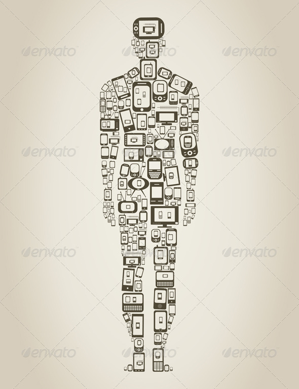 Person made of Phones - Communications Technology