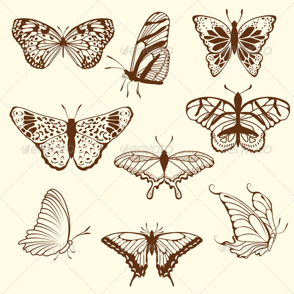 Set of Different Butterfly Sketches - Animals Characters