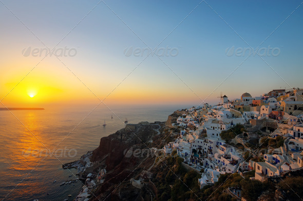 The famous sunset of Oia - Stock Photo - Images