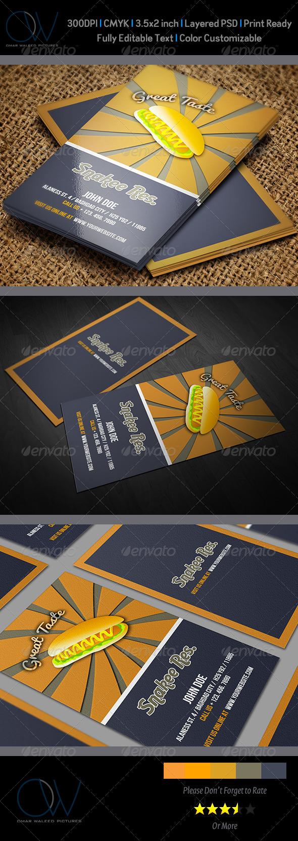 Sausage Restaurant Business Card