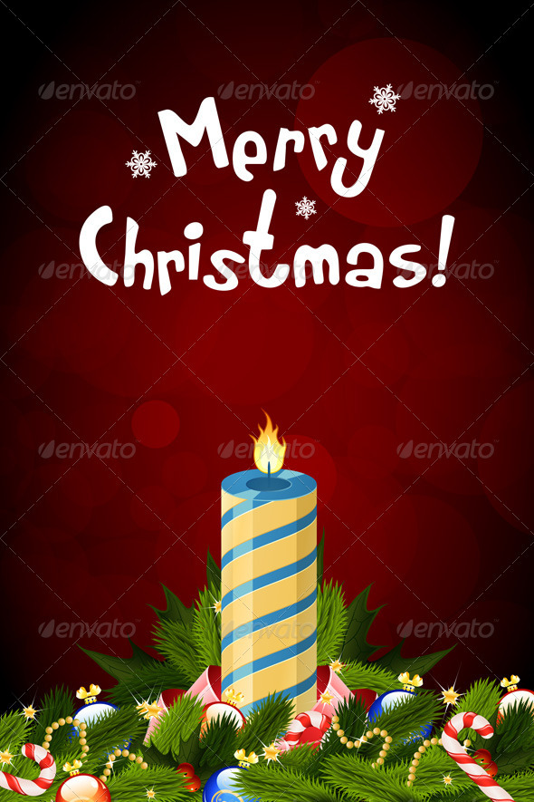 Christmas Card with Decorations and Candle - Christmas Seasons/Holidays
