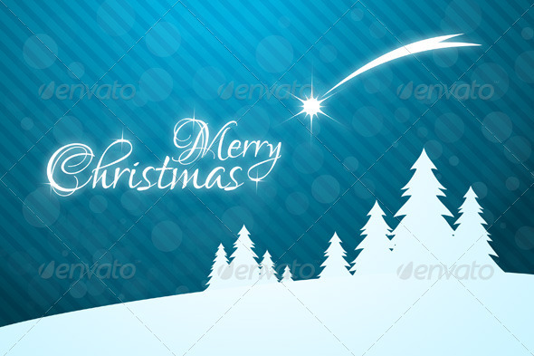 Merry Christmas Greeting Card with Star - Christmas Seasons/Holidays