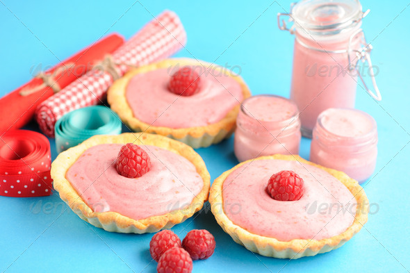Cake with raspberry yogurt dessert - Stock Photo - Images