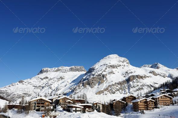 Mountain ski resort - Stock Photo - Images