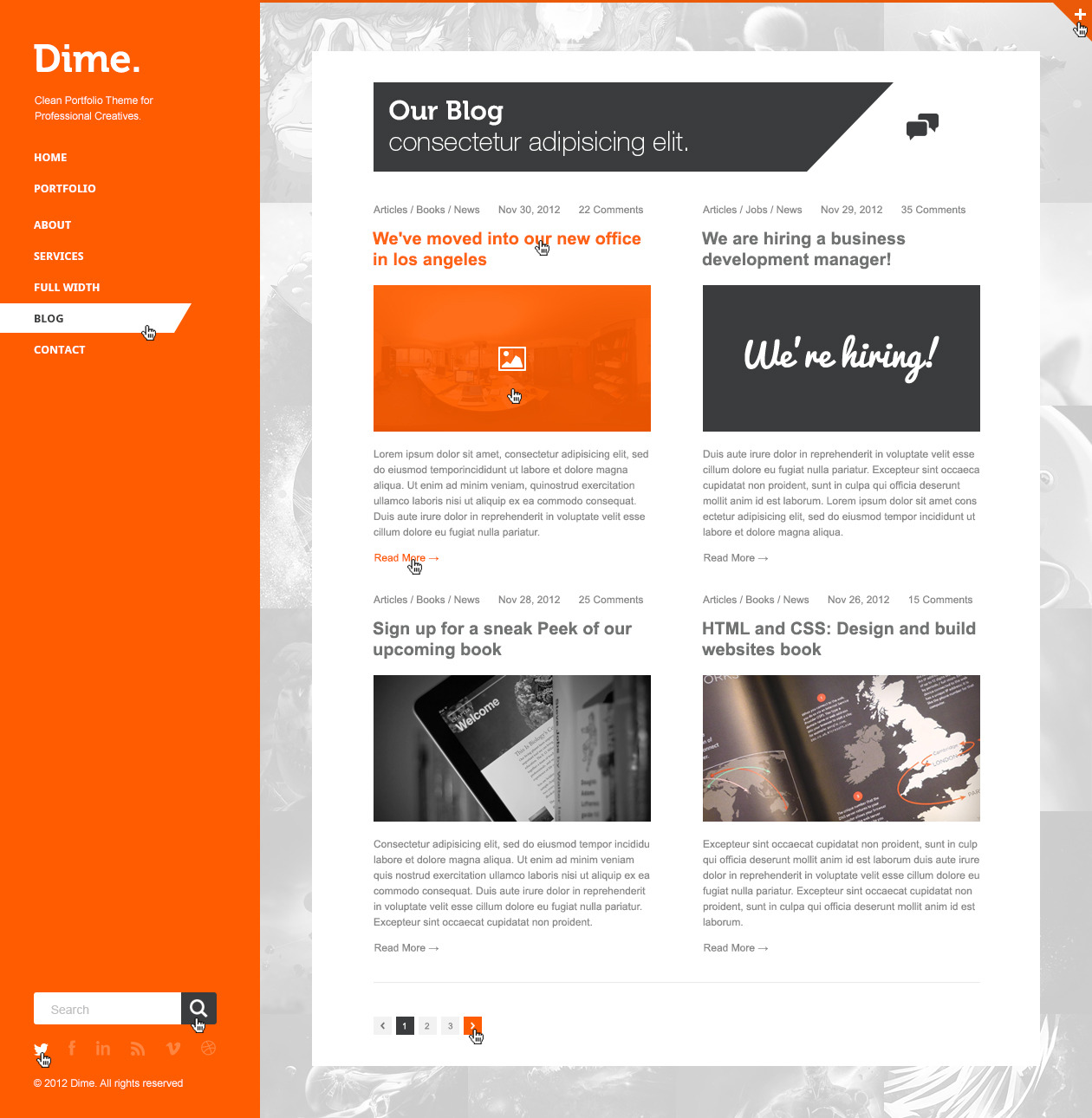 dime agency business portfolio psd template by dary themeforest. Black Bedroom Furniture Sets. Home Design Ideas