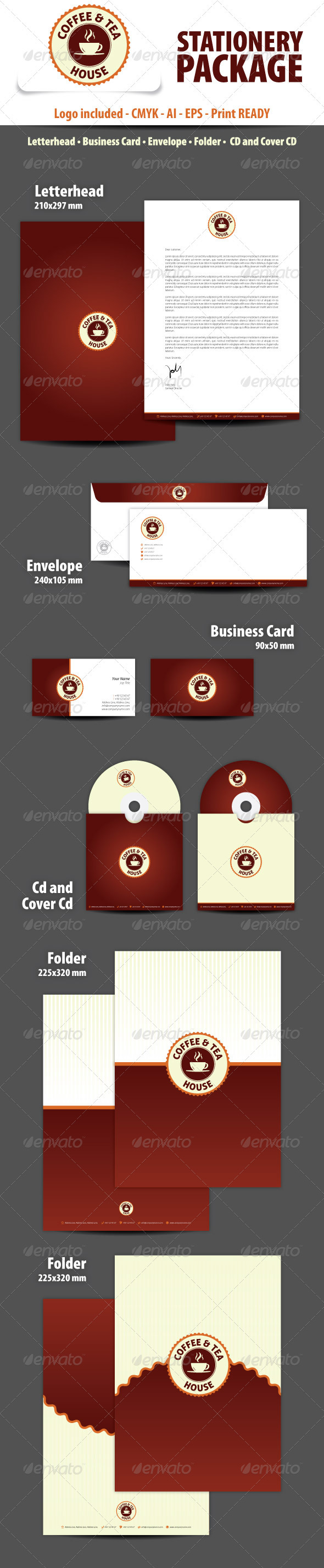 Coffee and Tea House Stationery Package - Stationery Print Templates