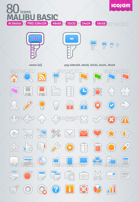 80 AI Malibu Basic icons - Media Icons