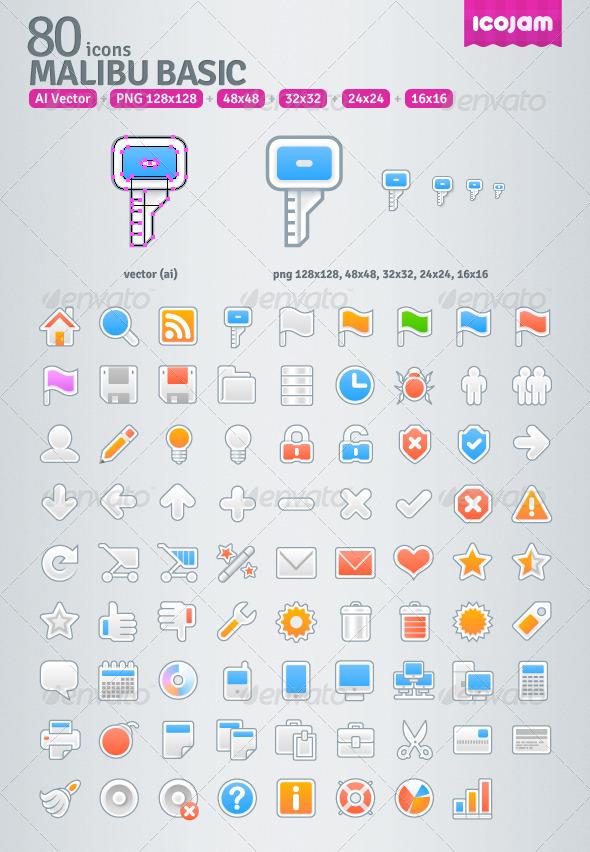 80 AI Malibu Basic icons - Media Icons
